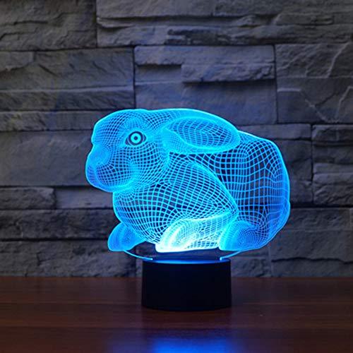 3D schattig konijn nacht licht Illusie Lamp 7 kleur veranderen, met afstandsbediening met USB-kabel Het is een verjaardagscadeau voor schattige kinderen en kan ook worden gebruikt voor huisdecoratie