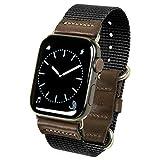 atelierCODEL Apple Watch バンド レザー 本革 ナイロン ベルト ミリタリー アップルウォッチ series5/4/3/2/1 対応 (42mm/44mm, ブラック)