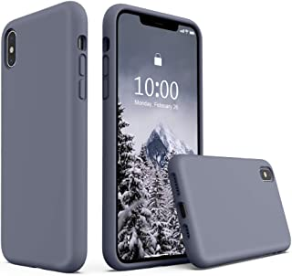 SURPHY Silicone Case for iPhone Xs Max, Liquid Silicone Shockproof Protective Case Cover (Full Body Thick Case with Microfiber Lining) Compatible with iPhone Xs Max 6.5, Lavender Gray