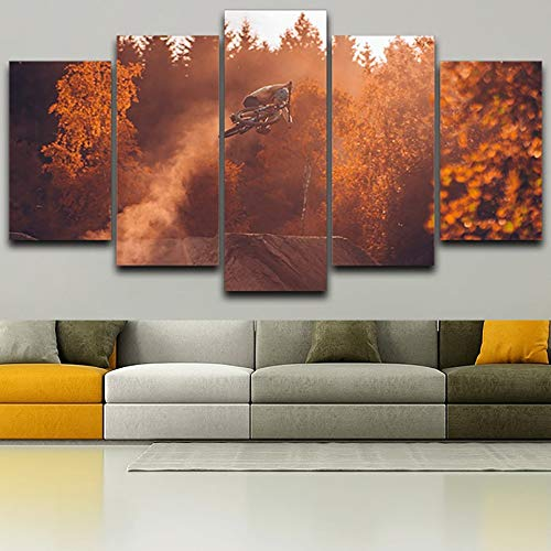 MMLFY 5 opeenvolgende schilderijen Moderne muurkunst afbeeldingen HD gedrukt 5 panelen mountainbike herfst landschap decoratie poster woonkamer schilderij