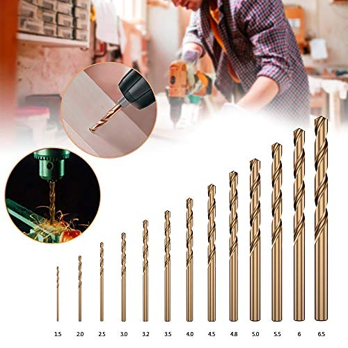 13Pack Twist Drill Bits Set Metric M35 Cobalt Steel with Straight HSS Shank 1.5mm-6.5mm Titanium Coated Extremely Heat Resistant Drill Bit Tool for Drilling Tool Wood, Metal & Plasticc