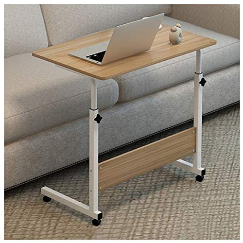 Side Table Laptop Cart Rolling Desk Mobile Stand Portable Caster Cart Bed Side Overbed Table Workstation Computer Desk With Lockable Caster 60 * 40CM (Color : Walnut)