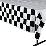 Black and White Checkered Flag Plastic Tablecloth - Cars Party Supplies