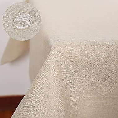 Deconovo Modern Style Spillproof Table Cover Decorative Faux Linen Tablecloth for Picnic 54x102 Inch Beige