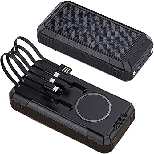 Cargador Solar 30000Mah, 15W Batería Externa Solar Inalámbrica con 18W Tipo C Y 40W USB Y Linterna LED Y 6 Salidas, Power Bank Solar De Carga Rápida para iPhone Android iPad Cámara Y Más
