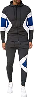 Mens Casual Tracksuit 2PC Set Zipper Hoodie Sweatshirt Sweatpants Sports Suit