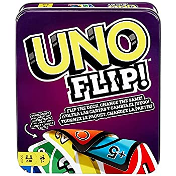 UNO FLIP! Family Card Game with 112 Cards in a Sturdy Storage Tin Makes a Great Gift for 7 Year Olds and Up
