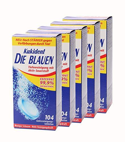 5x Kukident Die Blauen Gebissreinigungstabletten Gebissreiniger Reiniger 104 Stk.