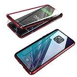 Jonwelsy Funda para Huawei Mate 20 Pro, Adsorción Magnética Parachoques de Metal con 360 Grados Protección Case Cover Transparente Ambos Lados Vidrio Templado Cubierta para Mate 20 Pro (Rojo)