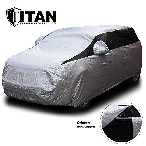 Titan Lightweight Car Cover. Compact SUV. Compatible with Toyota RAV4, Honda CR-V, Rogue, and More. Waterproof Cover Measures 187 Inches and Includes a Driver-Side Door Zipper.