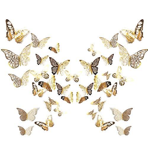 84 Stück 3D Schmetterling Wandtattoo Aufkleber Wandsticker 3 Größen 7 Muster für Haus Büro Zimmer Deko Gold