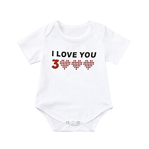Womola Toddler Baby Girls Newborn Baby Boys I Love You 3000 Printed Tops Bodysuit Romper Clothes