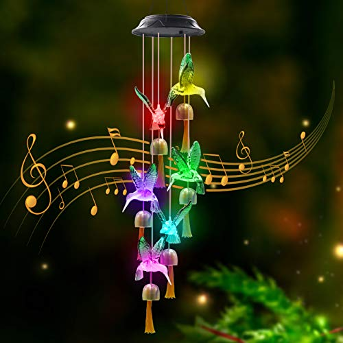 Greenke Solar Wind Chimes for Outside Hummingbird, Changing Color Wind Chimes with Bell for Outdoor Garden Decoration, Birthday for Mom Grandma Women