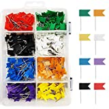 Colored Flag Travel Map Push Pins, 400 Pack Multicolored Decorative Map Tacks Assorted 8 Colors, Plastic Head for Cork Bulletin Board, Picture Hanging at Home Office School