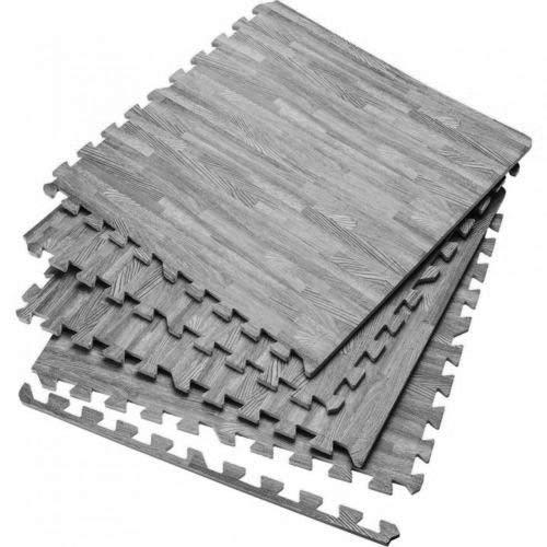 Saffri Interlocking Large Grey wooden Floor Mat Garage Exercise Play Yoga Gym Gymnastic Home Office Mat (Grey, 32Mats-128square feet)