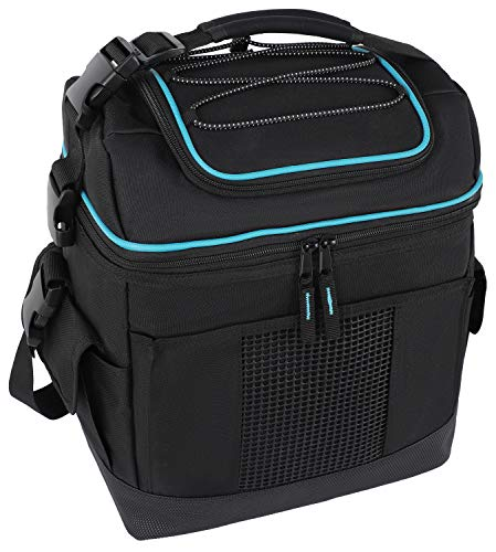 MIER 2 Compartment Cooler Bag Tote Large Insulated Lunch Bag for Picnic, Grocery, Kayak, Car, Travel, Black