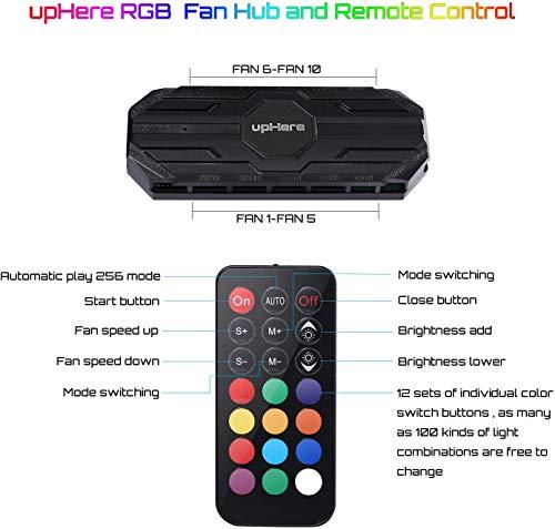 upHere 10-Port 6PIN SATA RGB Hub mit 21-Tasten-Fernbedienung/Splitter für 6-Pin-Gehäuselüfter in Schwarz,MBX10