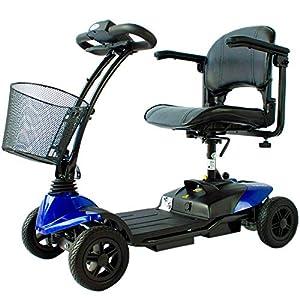 Mobiclinic, Virgo, Scooter eléctrico minusválido, personas con movilidad reducida, adultos, discapacitados, 4 ruedas, Desmontable, Manillar plegable, Auton. 10 km, 12V, Azul