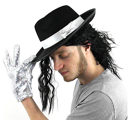 ILOVEFANCYDRESS® JACKO FANCY DRESS - Juego de accesorios para disfraz de trilby fedora con peluca negra y guante de lentejuelas (sombrero negro con banda blanca)