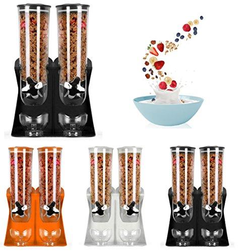 Dispensador de cereales hermético Enyaa con bandeja integrada, con diseño anti-derrame, ideal para la casa, para poner en la cocina, para el desayuno, para alimentos para mascotas; etc doble black