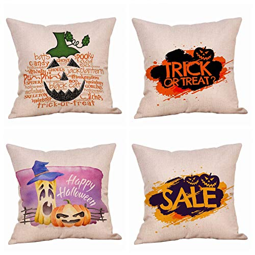 Throw Pillow Covers 18x18 Inch - 4 PCS Fall Pillow Covers for Fall Decor Farmhouse Thanksgiving, Halloween, Christmas - Outdoor Fall Pillows Decorative Throw Pillows Autumn Cushion Cases for Couch