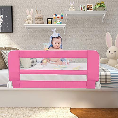 Leogreen - Barandilla de Seguridad para Cama de Bebés y Niños Pequeños, Barrera de Cama Plegable, 1,02 Metro(s), Rosado, Material: Tela de nylon