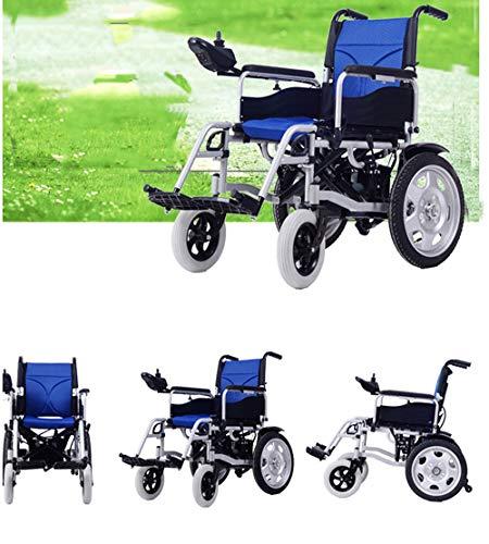 sZeao Ultraleichter Faltbarer Elektrischer Rollstuhl, Intelligente Automatische, Frei-Reiten, Elektro-Rollstuhl (blau)
