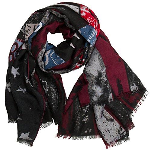 Caspar SC467 XXL Schal Tuch mit Sterne Peace USA Flagge Print, Größe:One Size, Farbe:schwarz-rot-weinrot