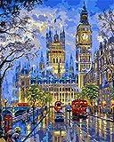 N\A Kits De Pintura por Números para Adultos - Kits De Regalo De Pintura Al Óleo DIY para Adultos Principiantes - Escena De Una Calle De Londres Big Ben