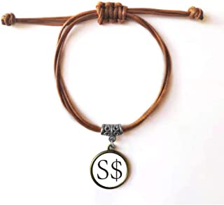 DIYthinker Currency Symbol Singapore Dollar Bracelet Leather Rope Wristband Brown Jewelry