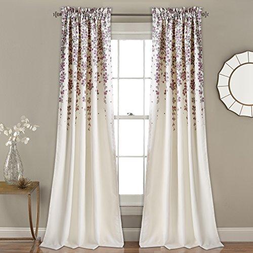 "Lush Decor Décor Weeping Flower Room Darkening Window Curtain Pair 2"" Header, Panel 84"" x 52"", Purple and Gray"