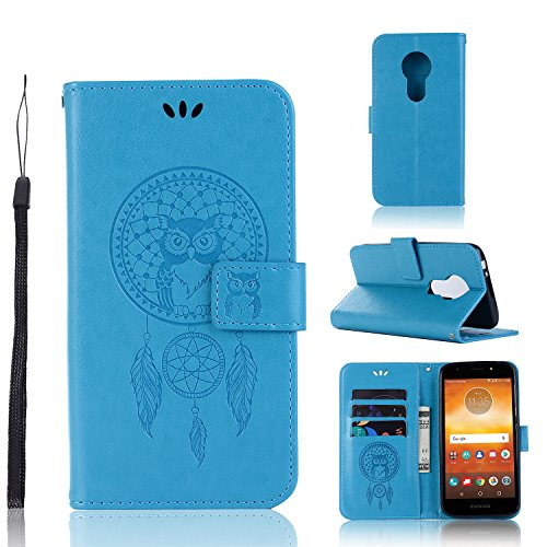 A-slim Moto E5 Play Case, Moto E5 Cruise Wallet Case,Moto E5 Play PU Leather Case Flip Case Owl Dreamcatcher Embossed Purse Kickstand Cover Card Holders Hand Strap for Motorola Moto E5 Play Blue