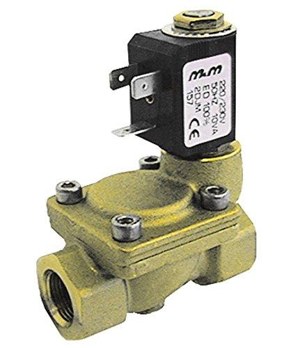M&M Magnetventil für Spülmaschine Comenda GE80, GE100, GE115, GE60, GE60RCD, GE65 Messing 230V 2-Wege Eingang 3/4' Ausgang 3/4'