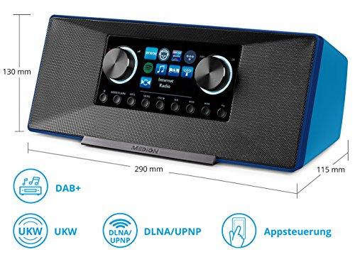 MEDION P85135 7,1 cm (2,8 Zoll TFT-Display) WLAN Internet-Radio, 2x6 W RMS, DLNA-/UPnP, DAB+, FM/UKW, LAN, USB 2.0, Aux, Spotify, blau