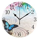 dfegyfr Reloj de Pared japonés Mariposa Zen y Sakura Flores no se Hace Ruido Funciona con Pilas silencioso Redondo Relojes hogar Oficina Decorativo