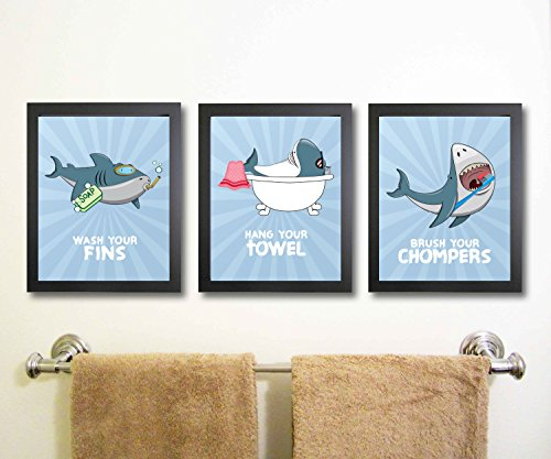 Silly Goose Gifts Fun Shark Themed Children Bathroom Wall Decor (Set of Three) Wash Fins Hang Towel Brush Chompers No Frames