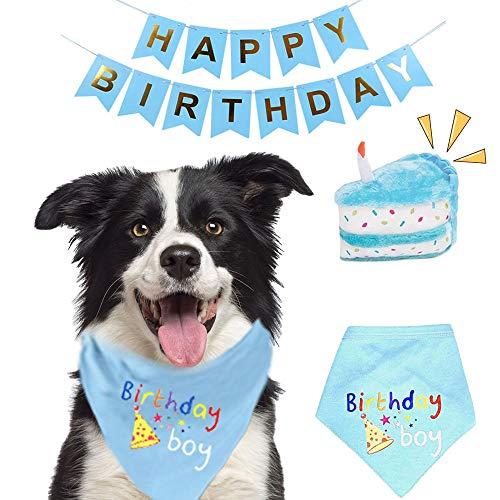TRAVEL BUS Dog Birthday Bandana Boy- Dog Birthday Toy/Cake/Balloon- Dog Birthday Party Supplies Gift Scarf for Small Medium Large Dogs Cats Pets Boy (Blue Cake)