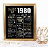 Katie Doodle 40th Birthday Decorations Gifts for Women or Men | Includes 8x10 Back in 1980 Print [Unframed], BD040, Black/Gold