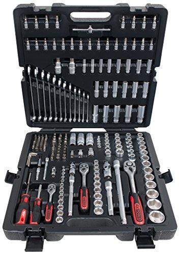 """KS Tools 917.0216 1/4\""""+3/8\""""+1/2\"""" Steckschlüssel-Satz, 216-tlg, schwarz/grau/rot, 216 Stück"""