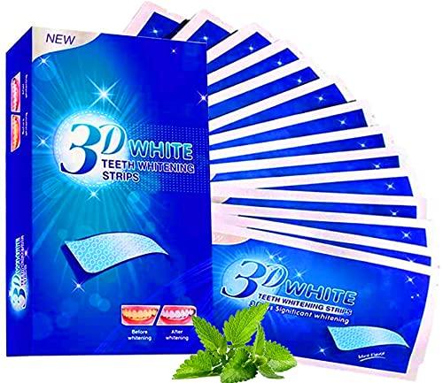 Blanqueador de Dientes - Tiras blanqueadoras Blanqueamiento Dental Higiene Bucal - Eliminación Manchas Dentales - 14 Sobres 28 Bandas blanqueadoras con Tecnología Antideslizante