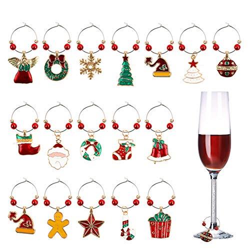 Gukasxi 18 Stück Weinglas Charms, Weihnachten Weinglas Marker Verschiedene Formen Weinglas Tags Getränk Marker für Weihnachten Wein Cocktails Martini Champagner Party Bar Tischdekoration