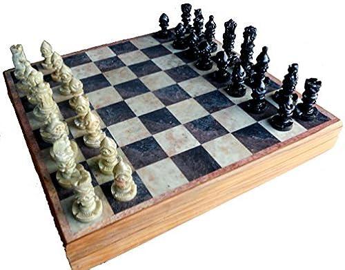 Envío 100% gratuito StonKraft StonKraft StonKraft Handcarved Wooden Stone Inlay Chess Game Board Set + Handcrafted Stone Piece (14 X 14) by StonKraft  Compra calidad 100% autentica