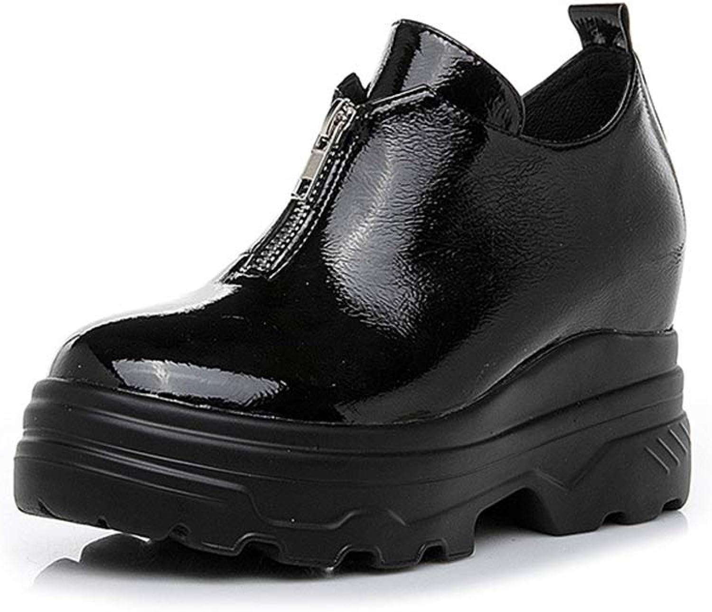 YAN damen es Casual schuhe Frühlingshochzeitschaufel Schuhe Patent Leder-Loafers & Slip-Ons Outdoor-Zip-Wanderschuhe,schwarz,37