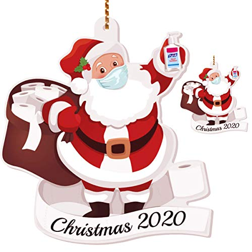 Tantrum Tow Ropes 2PCS Santa with a Mask 2020 Christmas Ornaments,Santa Claus Wearing a Fcae Cover Keepsake Xmas Trees Decorations,Quarantine Family Decor,Wood(2 Pcs)