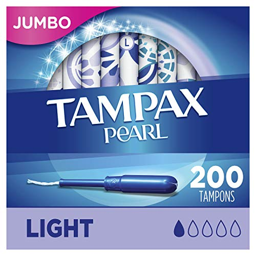 Tampax Pearl Tampons with Plastic Applicator, Light Absorbency, Unscented, 50 Count (Pack of 4)