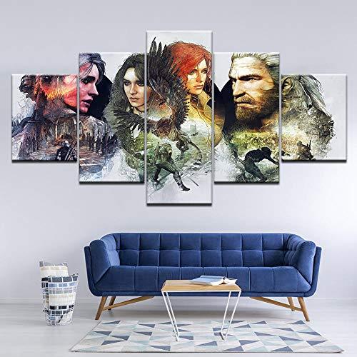 WARMBERL Cuadro en lienzo de The Witcher 3: Wild Hunting Declan 5 pinturas murales modulares para decoración del hogar, impresión sobre lienzo enmarcado