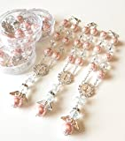 12 Baptism Pink/Silver Angel Favors Bracelet Party Favors Bautizo Recuerdos Angel Bracelet