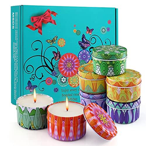 Velas Aromaticas, 7 Piezas 115g Velas Regalos Originales para Mujer 100% Soja 175 Horas de Quema Velas Perfumadas para Navidad, Cumpleaños, San Valentín, Regalo del ía de la Madre