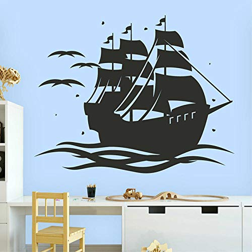 LovelyHomeWJ Barco Pirata Tatuajes de Pared Barco Vela Tesoro Diversión Arte Puerta Ventana Vinilo Pegatinas Niños Niños Dormitorio Cuarto de niños Decoración Interior Mural 57x72cm