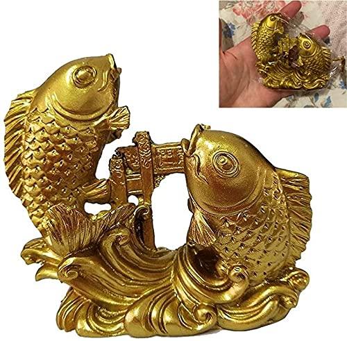 JJDSN Adornos de estatuas de Peces de Feng Shui Chino Dorado, artesanía de Escultura de Puerta de dragón Saltando de Carpa de Resina, Figuras de decoración de Animales talladas a Mano